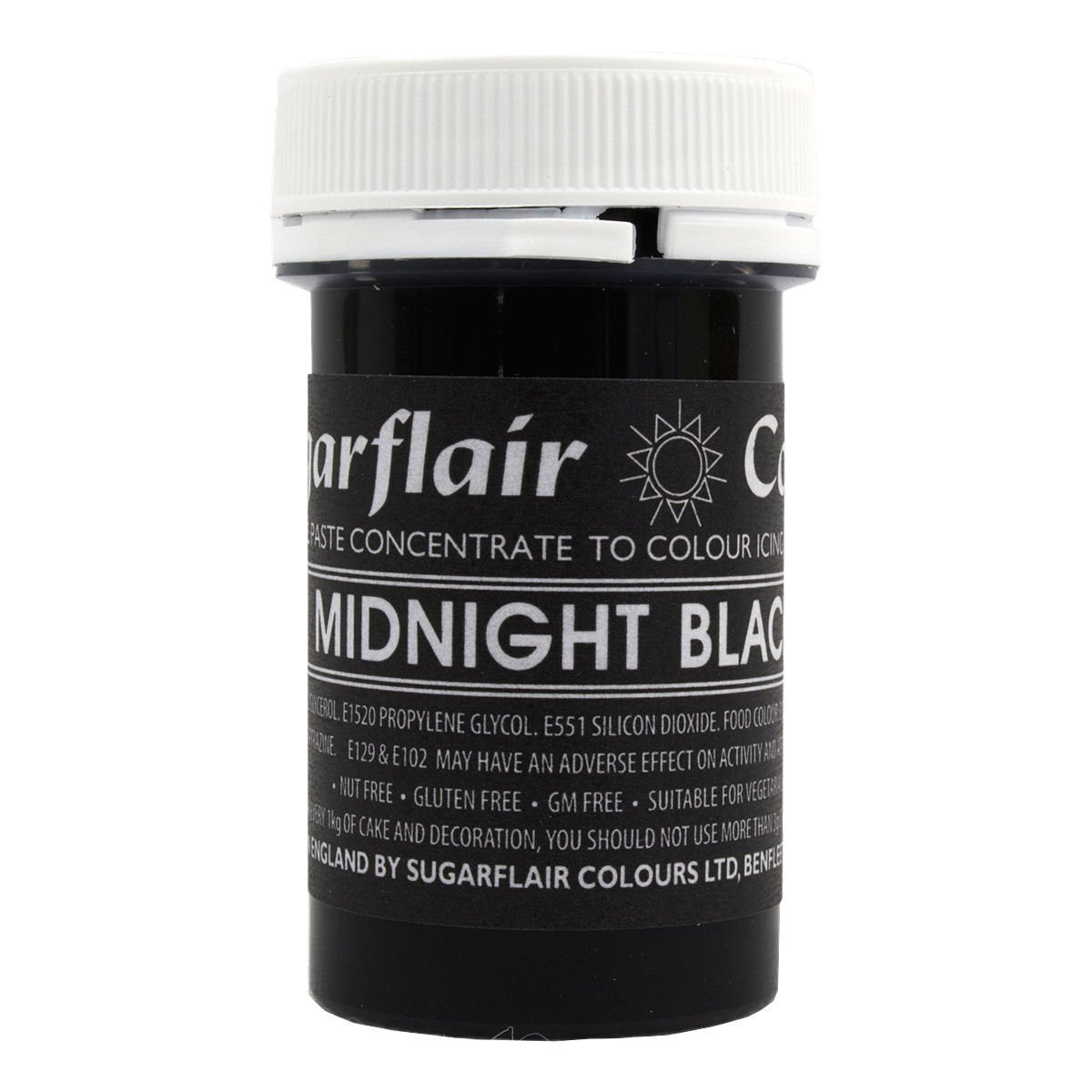 50 x Sugarflair MIDNIGHT BLACK Pastel Edible Food Cake Icing Colour Paste 25g