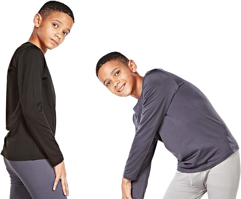 DEVOPS Boys 2 Pack Thermal Heat-Chain Microfiber Fleece Underwear Baselayer Tops