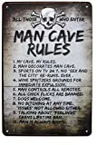 SUMIK Man Cave Rules Metal Tin Sign, Vintage Style Poster Plaque Wall Ornament
