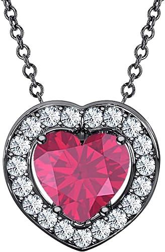 Halo Love Heart Stud Valentine Pendant Ruby 14K Yellow Gold Finish 925 Silver
