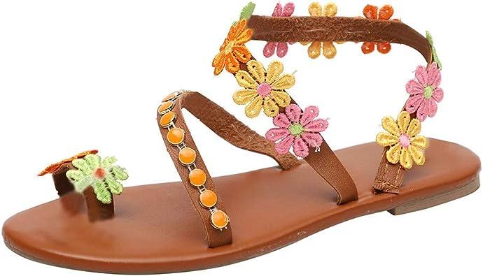 Sandalias Mujer Verano 2019 Fiesta Sandalias de Verano para Mujer Sandalias de tacón Plano de Cristal Sandalias Hechas a Mano Zapatos de Playa Sandalias Bohemia Mujer: Amazon.es: Zapatos y complementos