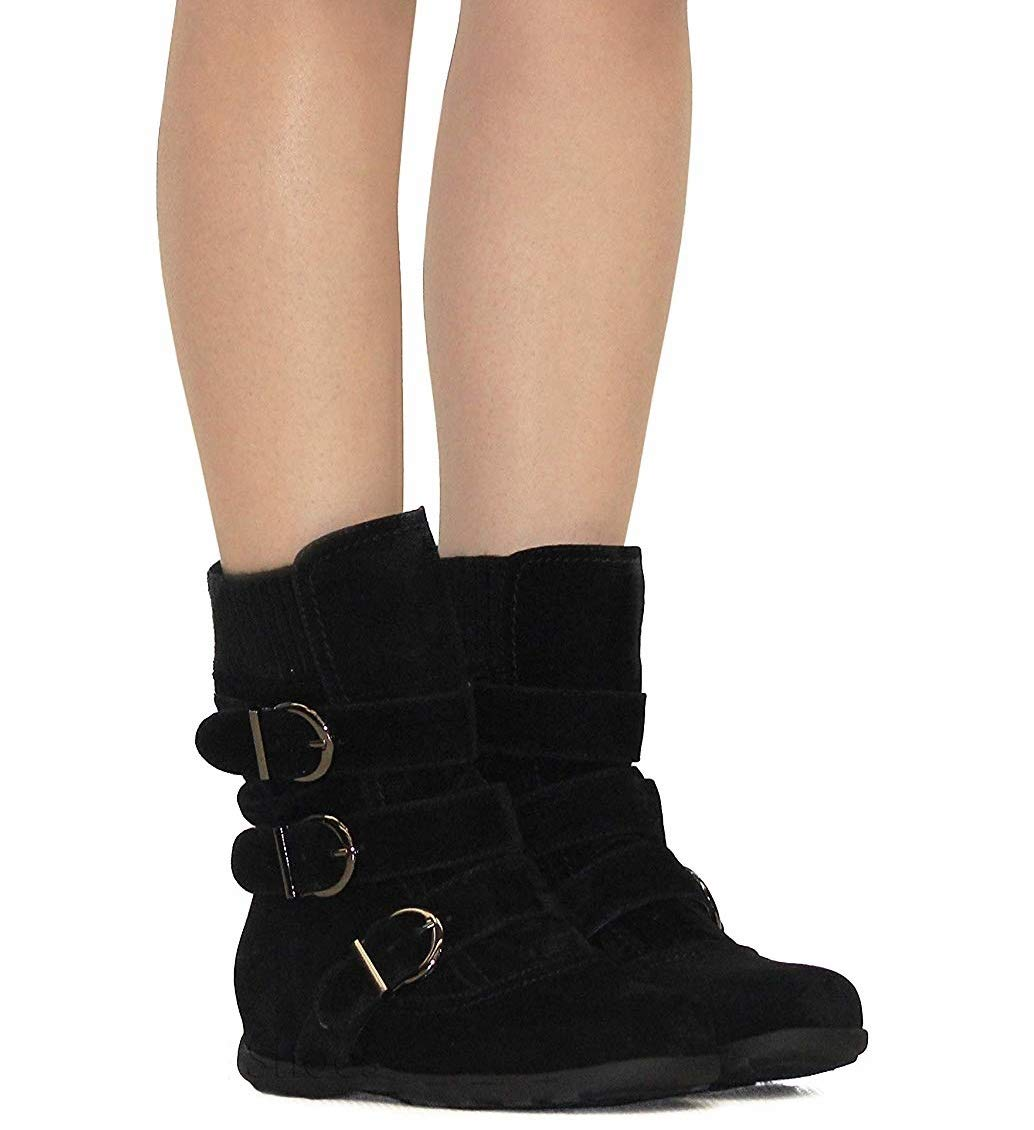 VANDIMI Womens Ankle Boots Zipper Buckles Strap Suede Booties Cute Classical Mid Flat Boot Black