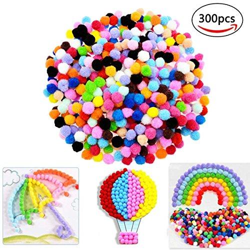 Pom Poms,Govine 300Pcs Colored Pom Poms for Hobby Supplies and DIY Creative Crafts Decorations 1 Inch (Pipe Craft Bag)