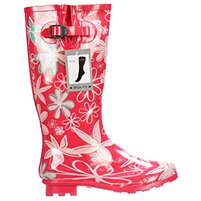 0f032faef3d Onlineshoe Women s Flat Wide Calf Flower Wellington Festival Rain Boots UK3  - EU36 - US5 -