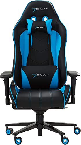 Ewin Gaming Chair Champion Series 4D Armrests Memory Foam 85 -155 Tiltable Ergonomic High-Back PU Leather Racing Executive Computer Office Chair CPB-Blue