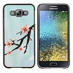 TECHCASE---Cubierta de la caja de protección para la piel dura ** Samsung Galaxy E5 E500 ** --Diseño Flor de cerezo
