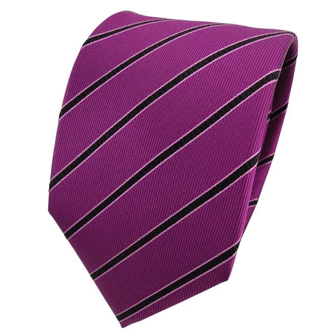 Diseñador corbata de seda - magenta purpur negro rosa rayas ...