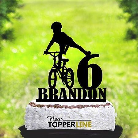 Decoración para tarta de bicicleta para niños, personalizable para bicicleta de montaña, decoración para tarta de cumpleaños de niños, decoración para tarta de niños, fiesta de cumpleaños en bicicleta: Amazon.es: Hogar
