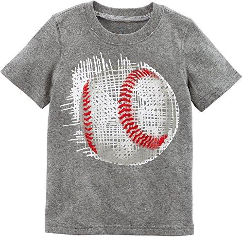 Carter's Boys' 2T-8 Short Sleeve Tee (2T, Heather/Baseball)