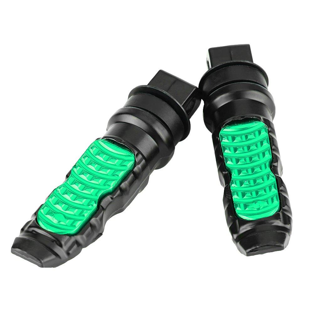 verde Poggiapiedi posteriori universali per moto Broco 1 paio di pedaliera universale per passeggero in alluminio per motocicli con foro da 8 mm