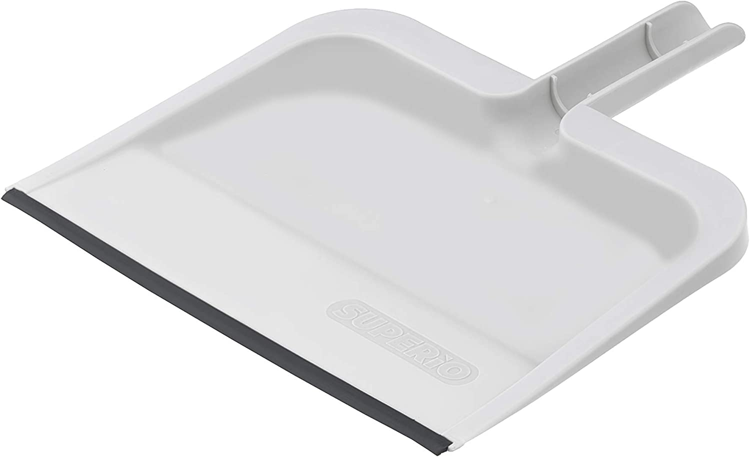 Superio Clip-On Dustpan with Rubber Lip Light Grey - 10 inch Wide Durable Plastic Dust Pan with Comfort Grip Handle, Lightweight Multi Surface, Heavy Duty, Easy Sweep Broom (1)