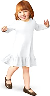 product image for City Threads Girls' Cotton Short Sleeve A-Line Ruffle Hem Dress School or Play
