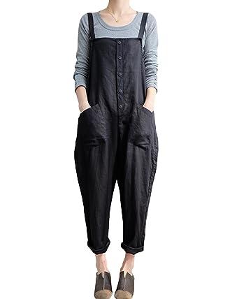40d8eb423679 GZBQ Women Casual Cotton Jumpsuit Plus Size Baggy Bib Wide Leg Overalls  Pants 1 Black