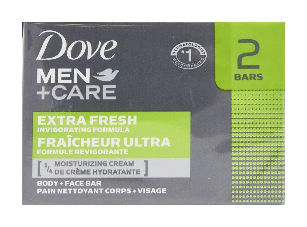 Dove Men+Care Body and Face Bar, Extra Fresh, 4 oz, 2 Bar