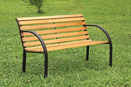 Danith Patio Furniture Bench, Natural Oak