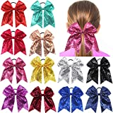 12Pcs 7.5'' Bling Sparkly Glitter Sequins Pigtail Bows for Baby Girls Large Cheer Hair Bows Ponytail Holder Elastic Hair Ties
