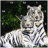 3dRose dpp_54187_2 White Tigers-Wall Clock, 13 by 13-Inch For Sale
