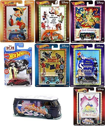 Snow Movie Magic White VW Disney Pop Culture Cars Dumbo / Alice Wonderland Volkswagen Station Wagon / Robin Hood / Sleeping Beauty / Pinocchio & Cruella De Vil Character Series 6 Cartoon ()