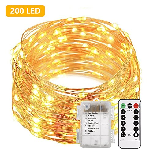 ECOADICT LED String Lights Remote, 66ft 200 LED Fairy Lights Battery Operated Waterproof 8 Flashing Modes Copper Wire Lights Christmas Indoor Outdoor Decoration