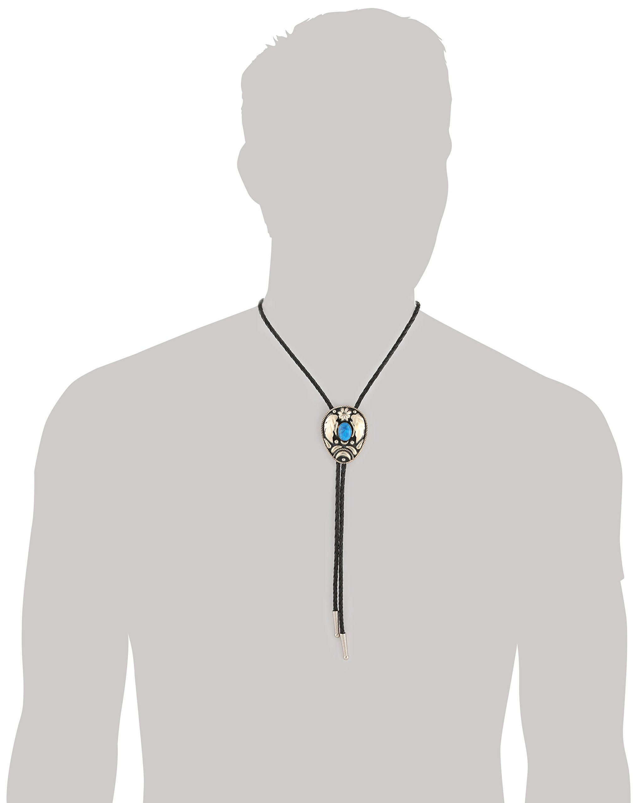 M&F Western Unisex Bolo Tie Silver Leaves/Turquoise Stone One Size by M&F Western (Image #2)