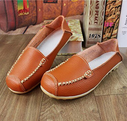 Summerwhisper Donna Casual Tondo Cap Toe Slip On Driving Barca Scarpe Anti Skid Mocassini In Pelle Larga Larghezza Arancione