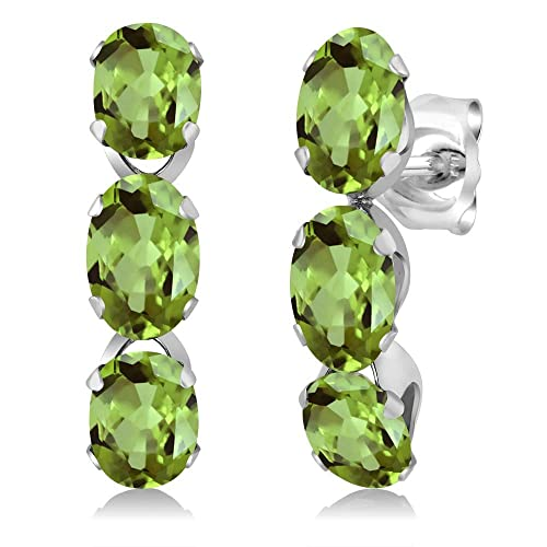 Gem Stone King 3.00 Ct Oval Green Peridot 925 Sterling Silver 3-Stone Earrings