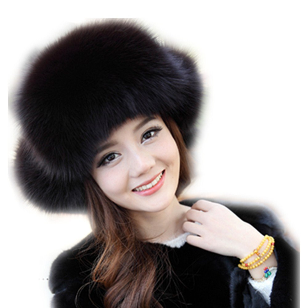 ba9bd827ebe6f8 qmfur Womens Winter Hat Genuine Fox Fur Russian Trapper Ushanka Hats with Pom  Poms (Blue) at Amazon Women's Clothing store: