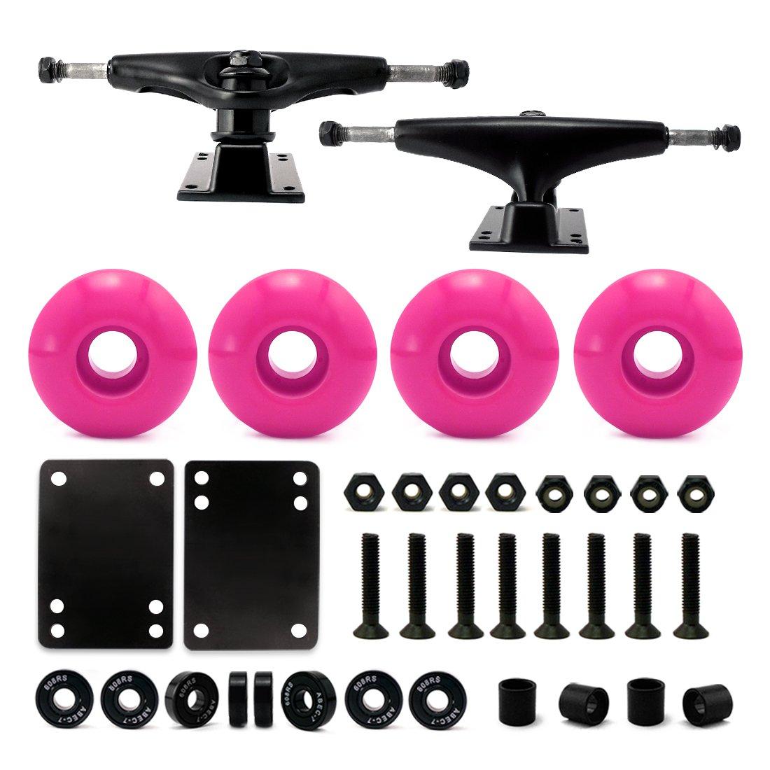 VJ 5.0 Skateboard Trucks (Black), Skateboard Wheels 52mm, Skateboard Bearings, Skateboard Pads, Skateboard Hardware 1'' (52mm Pink) by VJ
