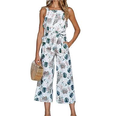 3f9d5ea4ba juqilu Women s Summer Printed Floral Sleeveless Chiffon Beach Dress  Jumpsuits Playsuit Beach Holiday Playsuits 3 Colour