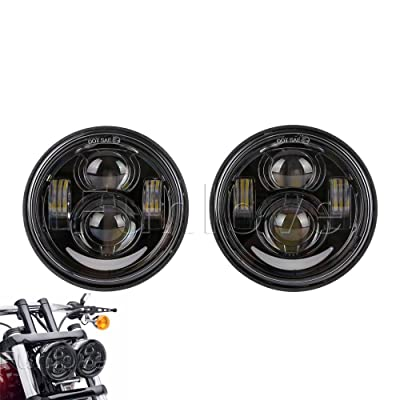 "4.65"" 80W Dual LED Headlights W/Daytime Running Lights for Harley-Dyna Glide Fat Bob/Street (Black): Automotive"