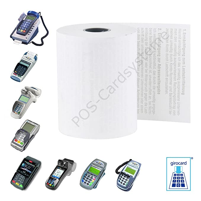 Box of 20 credit card thermal rolls of 57 mm x 12 m x 12 mm for device Verifone Vx680 with debit text ELV