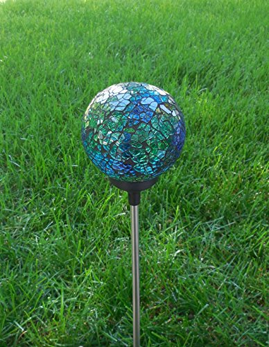 Solar Colorful LED Ball Lamp, Mosaic Crackle Glass Ball Mult