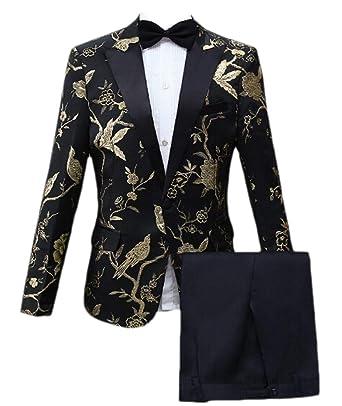 BingSai - Traje de Vestir para Hombre, Solapa con Muescas, 2 ...