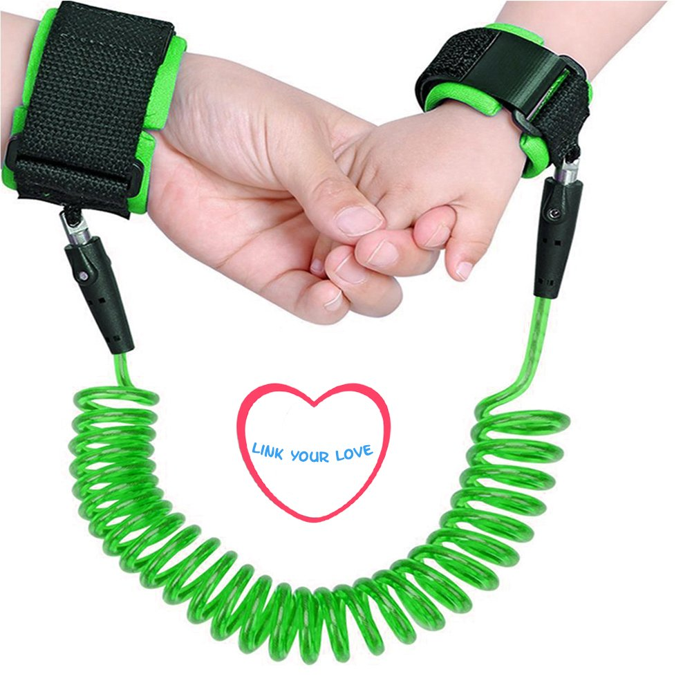 2.5m, Pink and Green Baby Anti Lost Wrist Link 2 Packs 98 inch Toddlers Safety Harness Leash Child Tether Hook Loop Band Kids Straps Rope for Children Babies with Parents by Elekmall