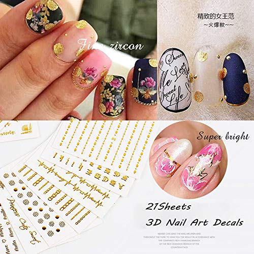 Lookathot 21Sheets Self-ahesive 3D Design Nail Art Stickers Decals Gold Metallic Studs Geometry Dreamcatcher Letter Words Necklace Collar Pattern Manicure DIY Decoration Tools