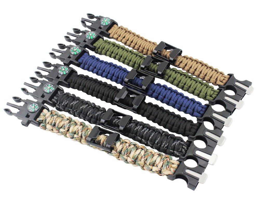 7 brins Cordon ZENDY Paracord Bracelet Corde avec ouvre-Bouteille Une Boussole Un sifflet et la Survie en Plein air Firestarter Inoxydable grattoir Multifonction