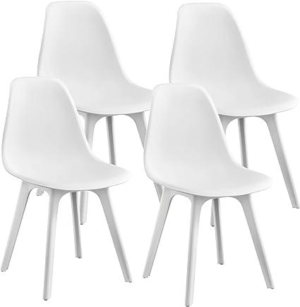En Casa Sedie Per Sala Da Pranzo Design 83 X 54 X 48 Cm Set Di 4 Pezzi Plastica Bianco Amazon It Casa E Cucina