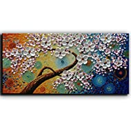 YaSheng Art -hand-painted Oil Painting On Canvas Texture Palette Knife Tree Paintings Modern Home Decor Wall Art Painting Colorful 3D Flowers Paintings Ready to hang 24x48inch