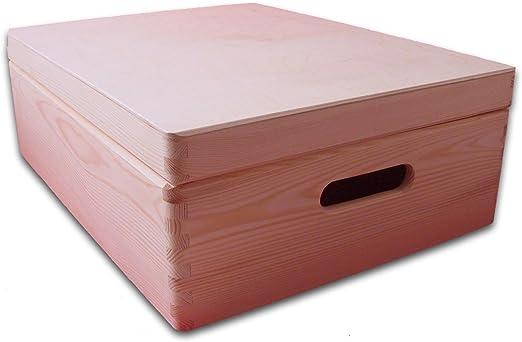 Mediano cofre de madera con tapa - Cofre de almacenaje - Caja de jugetes - Caja de bricolaje - Caja de madera llana 40x 30x 14cm: Amazon.es: Hogar