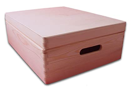 Medium Wooden Chest With Lid Storage Chest Toy Box Diy Box Plain Wooden Crate 40x 30x 14cm