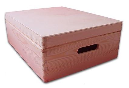 Mediano cofre de madera con tapa - Cofre de almacenaje - Caja de jugetes - Caja