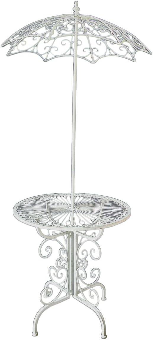 Mesa auxiliar decorativa de metal con sombrilla para jardín, color blanco envejecido: Amazon.es: Hogar