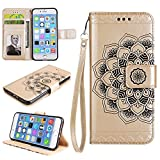 Cfrau Wallet Case with Black Stylus for iPhone 7,Retro 3D Henna Mandala Floral Embossed Magnetic Strap Flip PU Leather Card Slots Stand Soft Rubber Case for iPhone 7/8 4.7 inch,Gold