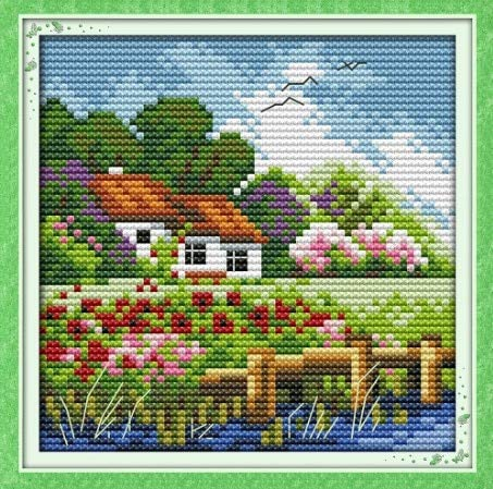 The Four Seasons Scenery Cross Stitch kit Autumn Winter Count 14ct 11ct Hand Embroidery DIY Handmade Needlework Supplies Plus - (Color: Spring, Cross Stitch Fabric CT Number: 14ct unprint - Cross Stitch Scenery