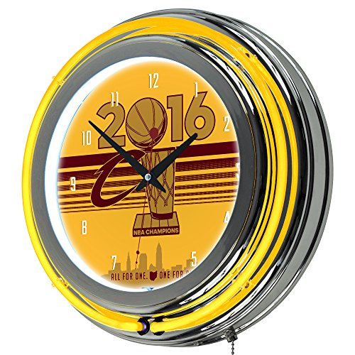 NBA Cleveland Cavaliers 2016 Champions Chrome Double Rung Neon Clock, Wine/Gold, One Size