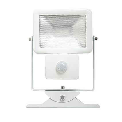 Electraline 63510 Faro Slim IP44 Foco Exterior LED con Sensor de Movimiento, 10 W,