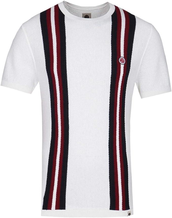 Pretty Green Twin Stripe Stone Camiseta Blanca de Punto: Amazon.es: Ropa y accesorios