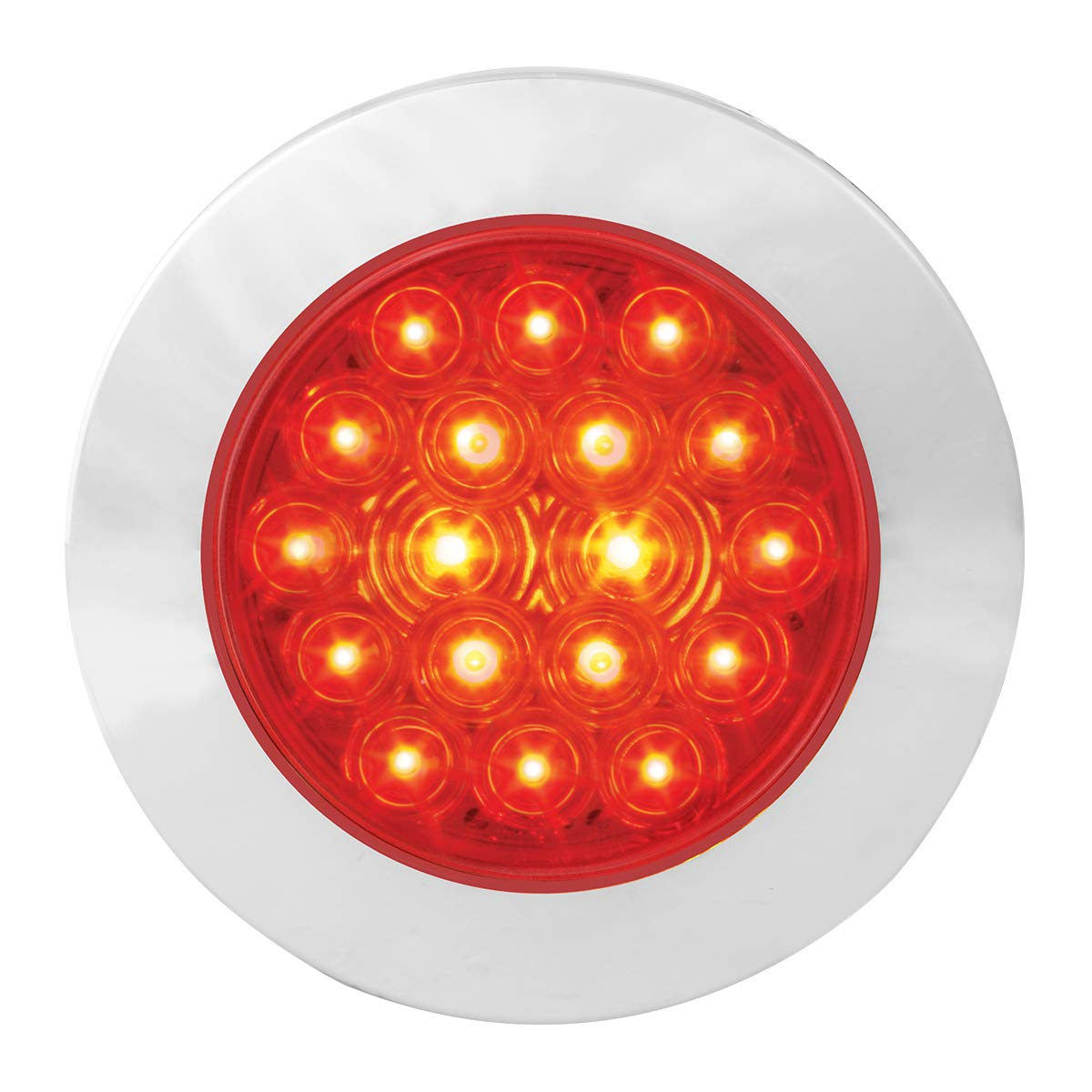 4 Fleet Red 18 Flange Mount with Bezel, 3 Wires Grand General 75882 LED Light