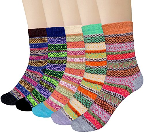 Things That Come In 5 (Loritta 5 Pairs Womens Vintage Style Winter Thick Knitting Warm Wool Crew Socks)