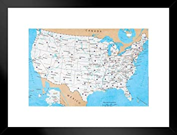 Pyramid America Map of United States USA Roads Highways Interstate System  Travel Decorative Classroom Matted Framed Poster 26x20 inch